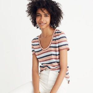 Madewell Alto Scoop Tee in Colborne Stripe Shirt